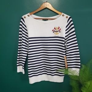 Lauren Ralph Lauren Striped Long Sleeve Sweater XL